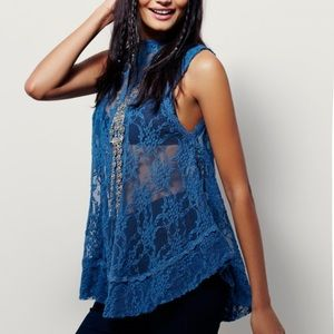 Free People Bon Bon Lace Crochet Sheer Blue Top